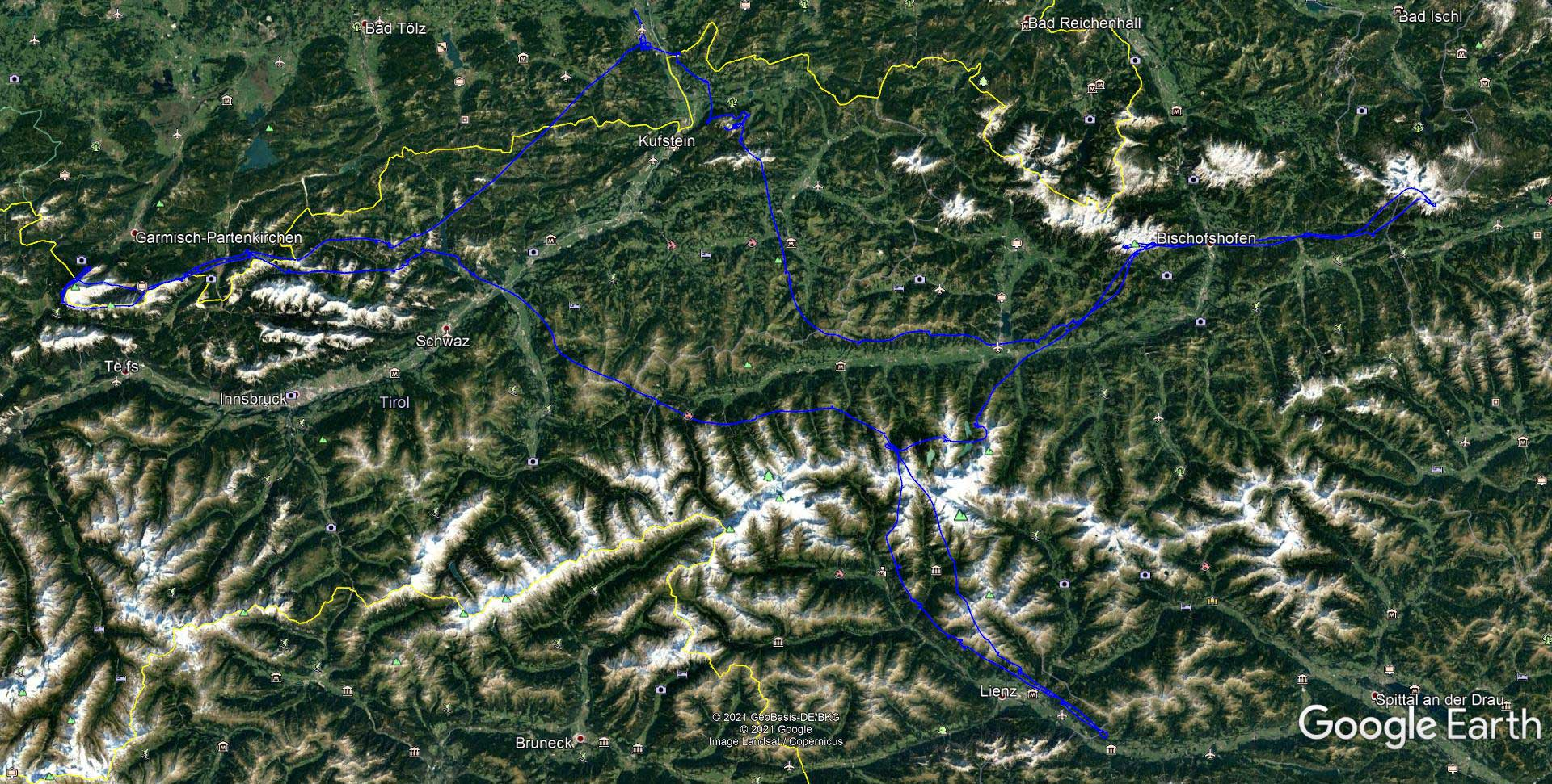 Segelflugstrecke in den Alpen